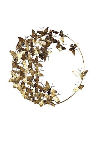 Golden Iron & Brass Butterfly World Wall Decor by H2H