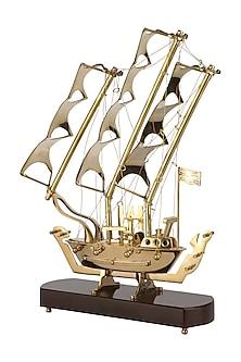 Golden Brass & Teakwood Let's Go Sailing Decor  by H2H