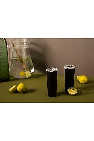 Black Striped Wine Glasses (Set of 2) by H2H