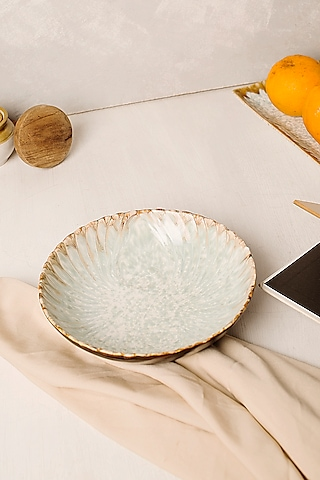 Beige & Ivory Stoneware Handmade Bowl by H2H