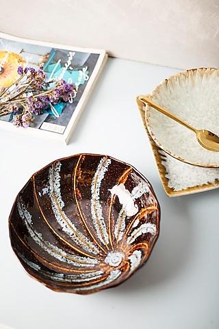 Brown Ceramic Handmade Bowl by H2H
