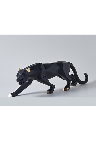 Black Fiber Panther Sculpture by H2H
