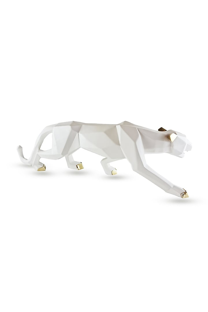 White Fiber Panther Sculpture by H2H