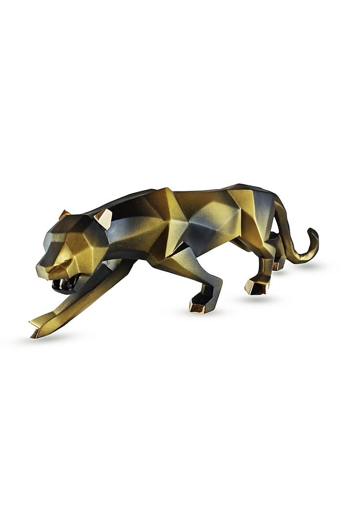 Antique Finish Fiber Panther Sculpture by H2H