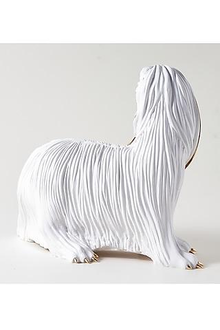 White Fiber Afghan Hound Sculpture by H2H
