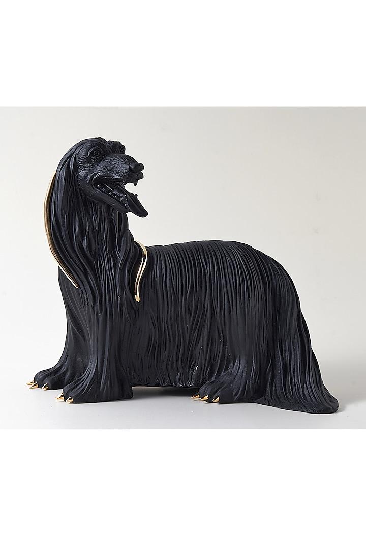 Black Fiber Afghan Hound Sculpture by H2H