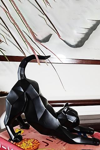 Black Fiber Cat Sculpture by H2H