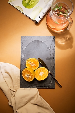 Grey Solid Slate Platter by H2H