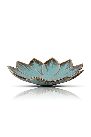 Blue Ceramic Floral Serving Plate by H2H