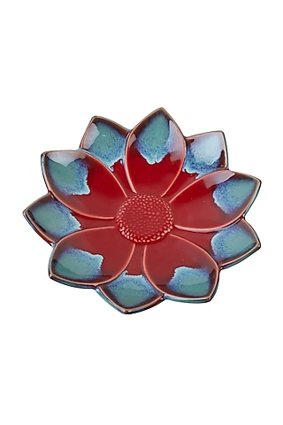 Red & Blue Ceramic Floral Serving Plate by H2H