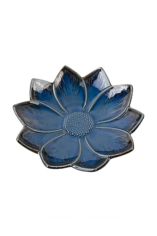 Imperial Blue Ceramic Floral Serving Plate  by H2H