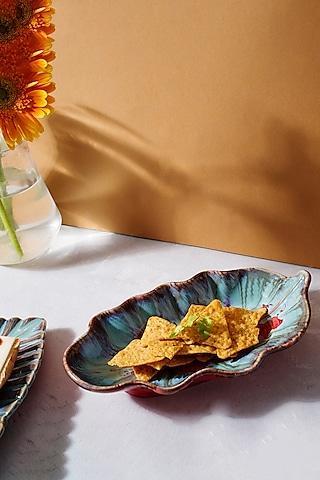 Blue & Red Ceramic Leaf Platter by H2H
