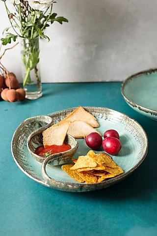 Cerulean Blue Ceramic Circular Platter by H2H
