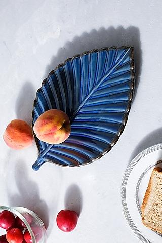 Imperial Blue Ceramic Flat Leaf Platter by H2H