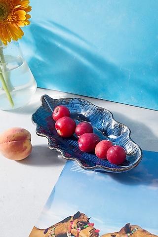 Imperial Blue Ceramic Curled Long Leaf Platter by H2H