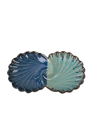 Blue Ceramic Open Pearl Shell Platter by H2H