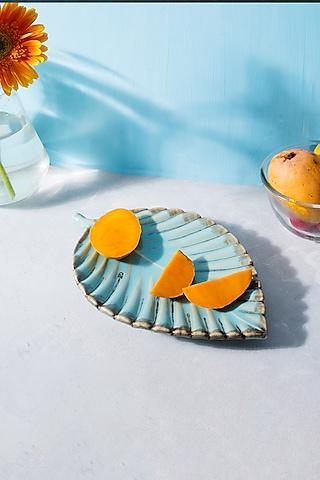Cerulean Blue Ceramic Leaf Platter by H2H