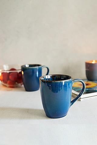 Blue Ceramic Glazed Mugs (Set of 2) by H2H
