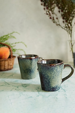 Deep Blue Ceramic Glazed Mugs (Set of 2) by H2H