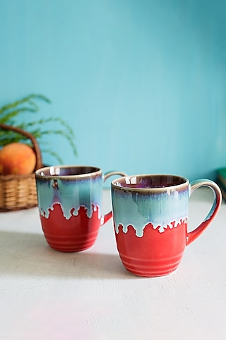 Red Ceramic Glazed Mugs (Set of 2) by H2H