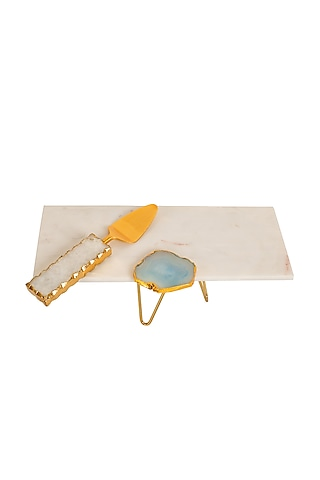 White Marble Platter With Agate Stone by H2H
