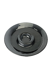 Black Glass Polo Serving Platter by H2H