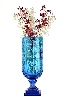 Aqua Blue Circular Convex Glass Vase by H2H