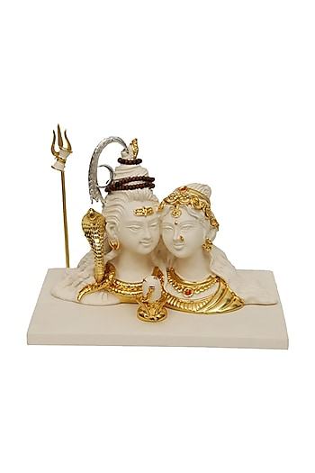 White & Gold Fibre Detailed Sculpture by H2H