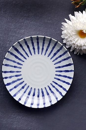 White & Blue Ceramic Neelambar Bowl by H2H