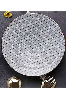 White & Blue Ceramic Dinner Plate by H2H