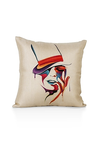 Taupe Printed Cushion Cover by H2H