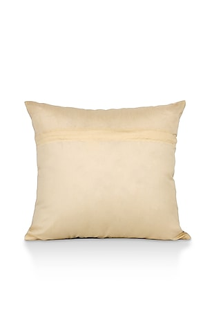 Taupe Printed Cotton Satin Cushion Cover by H2H