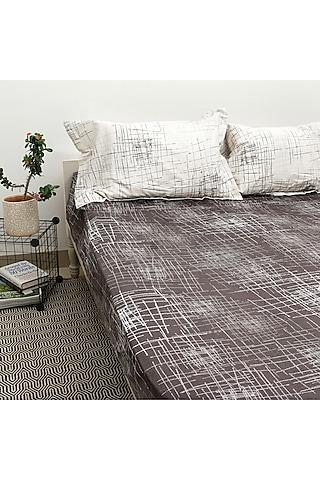 Brown & Ivory Printed Bedsheet Set by H2H