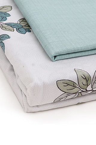 White & Multi Colored Printed Bedsheet Set by H2H