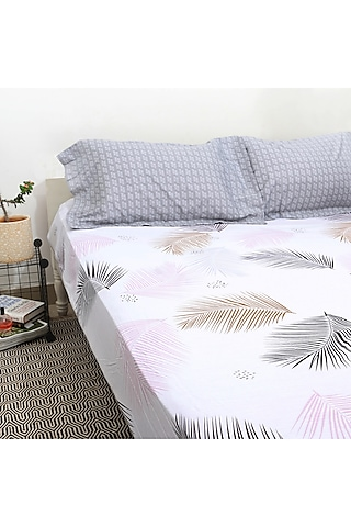 White & Multi Colored Ferns Printed Bedsheet Set by H2H