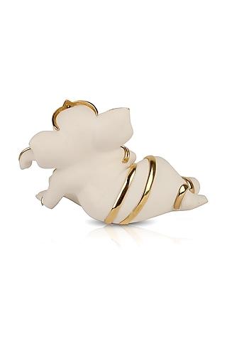 Gold & White Lord Ganesha Idol by H2H