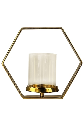 Golden Hexagon Candle Holder by H2H