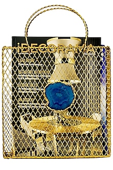 Gold Mesh Magazine Rack With Blue Agate by H2H