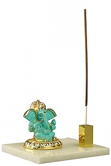 Blue & Gold Ganesha Idol With Incense Stick Holder by H2H