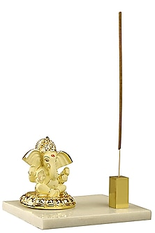 Ivory & Gold Ganesha Idol With Incense Stick Holder by H2H