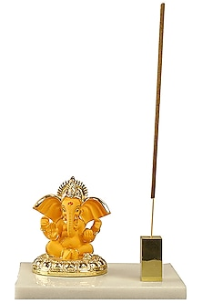 Orange & Gold Ganesha Idol With Incense Stick Holder by H2H