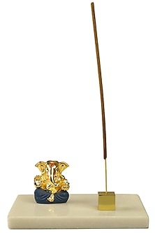 Gold & Blue Ganesha Idol With Incense Stick Holder by H2H
