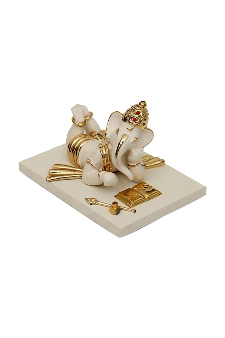 White & Gold Fiber Ganeshji Idol by H2H