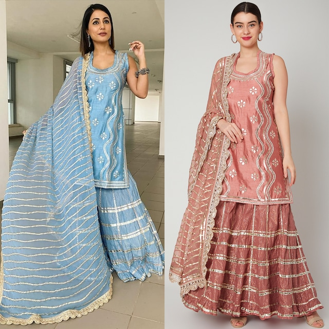 Pink Gota Embroidered Sharara Set by GOPI VAID