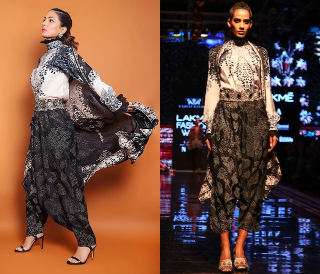 Black & White Printed Drape Cover Up Jacket by Rajdeep Ranawat