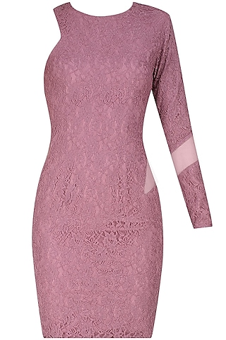 Purple one shoulder lace dress by Hema Kaul