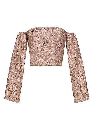 Beige off shoulder lace crop top by Hema Kaul