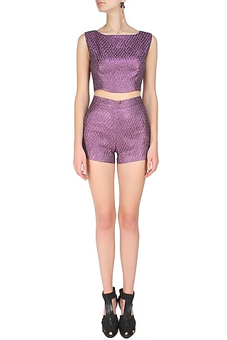 Purple french jacquard crop top by Hema Kaul
