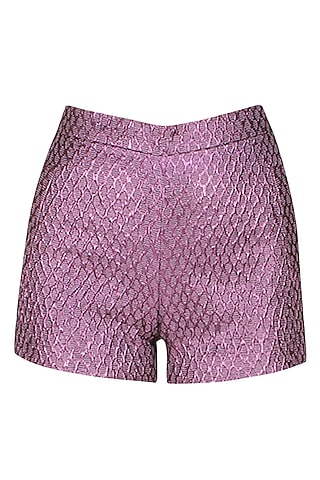 Purple french jacquard shorts by Hema Kaul