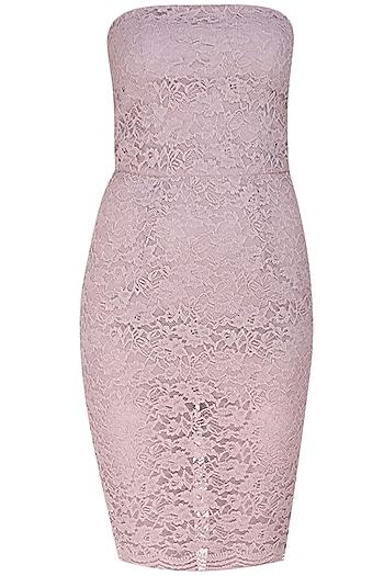 Lilac lace sheath sequence dress by Hema Kaul